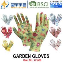 Guantes de jardín, impresión Polyestershell transparente Nitrilo revestido acabado suave, guantes de trabajo (G1000) con CE, En388, En420