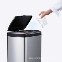 Square stainless steel smart sensor trash can automatic Induction 30L /50L smart trash bin auto trash can with lid