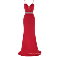 Kate Kasin Floor-Length Spaghetti Straps Polyester Spandex Red Long Cheap Prom Dress KK001040-1
