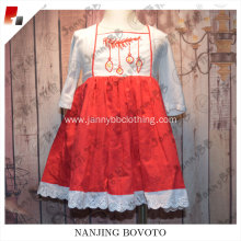 boutique white chiffon sleeve red girls dress