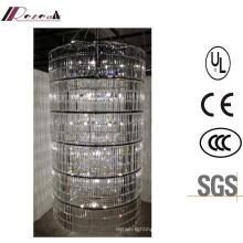 Lustre de cristal claro luxuoso cilíndrico moderno francês da entrada moderna grande