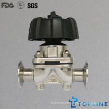 Гигиенический мембранный клапан из нержавеющей стали с зажимами (новый дизайн)