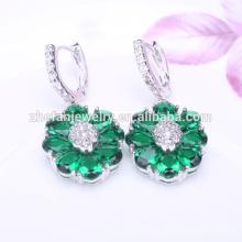 aretes de flores de esmeralda colorido aro verde