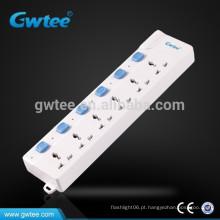 6 vias saída elétrica universal sobrecarga tira de alimentação com interruptores individuais