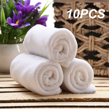 10PC White Ultra Soft Microfiber Fabric Face Hotel Bath Towel Wash Hand Portable Terry Towel Multifunctional Towel