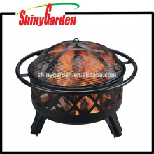 Patio Fire Pit with Cooking Grill and Cross Screen For Garden and Yard