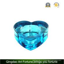 Heart Shape Blue Color Tealight Стеклянный подсвечник