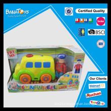 Cartoon car with driver toy free wheel mini bus toy