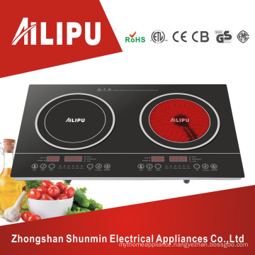 Ailipu Brand Plastic Housing and Touch Screen Double Burner Electric Cooktop, Induction Cooker Vs Infrared Cooker