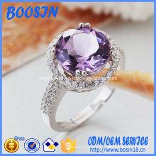 Bague de mariage en argent sterling 925 de haute qualité avec cristal violet