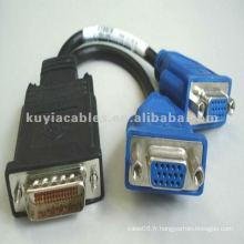 Câbles VGA à DVI Splitter 2 VGA femelle et un connecteur mâle 59 broches