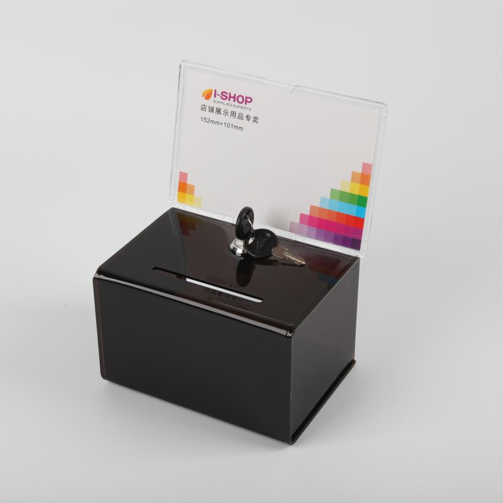 Acrylic Ballot Box With Header And Lock
