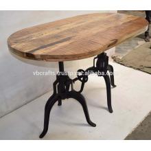 Tabela de jantar Indusrial Dual Crank Base Mesa de jantar em madeira zavelada Mango