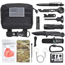 Kit de survie de camping en plein air pour équipement d'urgence tactique