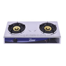 Classic Stainless Steel Gas Stove, Two Burners, Blue Fire