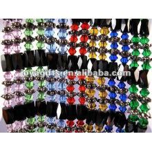 """Pulseiras de cristal envolto de vidro colorido magnético & colar 36 """""""