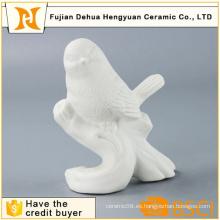 Artesanía decorativa de ave blanca de cerámica vidriada
