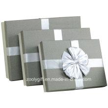 Качество Текстурированная бумага Искусство Упаковка Подарочная коробка / Slivery Серый Бумага Подарочные коробки с лентой Украшение