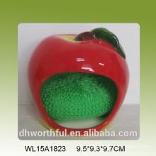 Fruta decorativa hecha a mano en forma de titular de esponja de cocina de cerámica