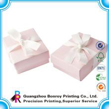 Оптовая печатных складной с покрытием Рециркулировала бумажные розовые коробки подарка с Тесемкой