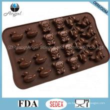 Cute animal dibujos animados Silicona Bakeware moho para el chocolate y la torta Si26