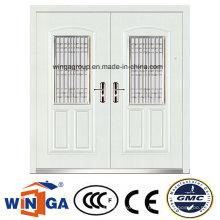 Weiße Farbe Dekorative Eingang Stahl Sicherheit Metall Tür (W-SZ-03)