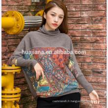 impression numérique pull femme en cachemire de grande taille