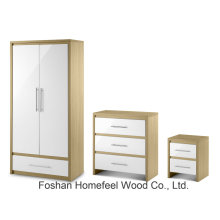 High Gloss 2 Door Combi Wardrobe Conjunto de móveis de quarto (BD21)
