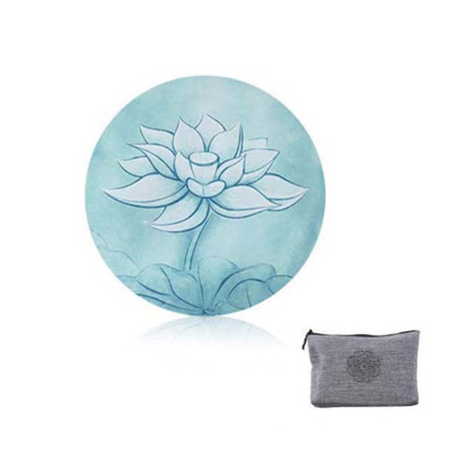 Printed Suede Natural Rubber Ultralight Portable Foldable Anti Slip Round  Yoga Meditation Mat