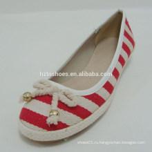 Красная и хаки хлопчатобумажная ткань Женская классика Туфли Недорогая обувь с бантом
