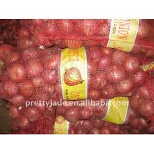 Cebolla roja china fresca en bolso del acoplamiento