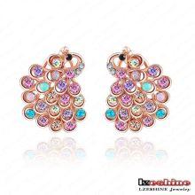 Modèles de boucles d'oreilles en cristal CZ Crystal Animal Peacock pour femme (ER0015-A)