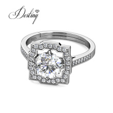 925 Sterling Silver 1 Carat Moissanite Cushion Square Halo Ring