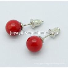 6MM Red Jade Gemstone studded earring