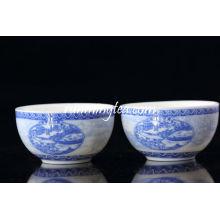 """Medio """"Pintura de la escena de la orilla en el festival de Qingming"""" Taza de té de la porcelana, 50ml / taza"""