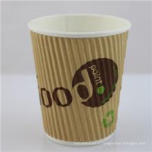 Tasse jetable de papier de café de 12oz avec le couvercle