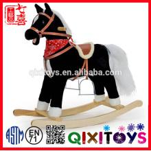 promotional customized printed baby plush rocking horse animal toy with brown saddle&wooden base