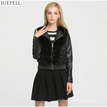 Модный дизайн зима женщины мех пальто дамы короткий параграф PU кожаная куртка меха пальто
