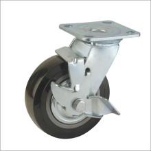 H2 Heavy Duty Type Double Ball Bearing Красный PU Боковой тормозной тип Industrial Caster (