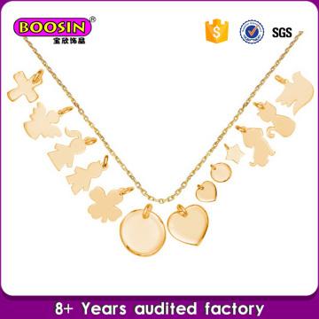 Collar personalizado de las etiquetas del logotipo del collar de la aleación del cinc del oro de la alta calidad 18k