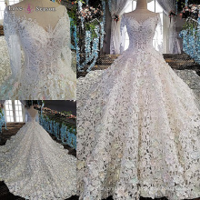 LS00152 manga larga blanco v detrás vestido de boda por encargo de China vestido de boda largo del rastro
