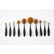10PCS Oval Shape Black Tooth Cosmetic Makeup Brush