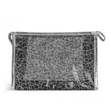 Lady Fashion Black Nylon Mesh Cosmetic Clutch Toiletry Pouch (YKY7536-5)