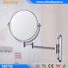 Espejo cosmético de montaje en pared redondo de latón cromado de 8 ′ ′