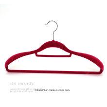 Swivel Hook Flocked Velvet Adult Clothes Hanger with Big Suit Shoulder