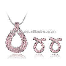 Conjunto de jóias de fita rosa conjunto de colar de serpente e brinco conjunto de jóias de cristal banhado a ouro branco conjunto