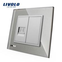 Livolo Панель из серого хрусталя VL-C791T-15 Стена RJ11 Телефонная розетка / розетка Электрическая вилка