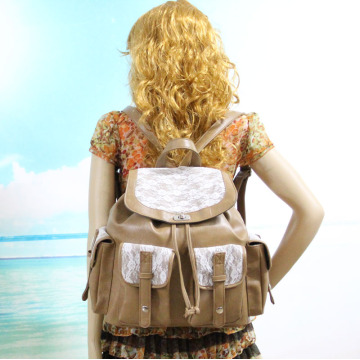 Sekolah Vintage College PU Leather Lace Backpack