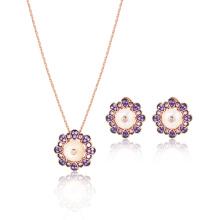 White MOP Amethyst CZ Rose Gold Jewelry Set