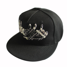 3D Embroidery Black Snapback Hat
